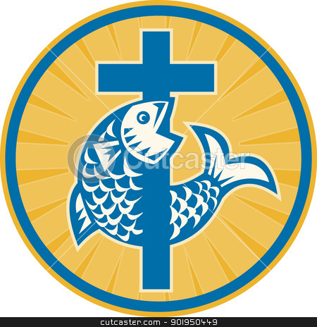 Fish Jumping With Cross Retro stock vector clipart, Illustration of a fish jumping with Christian cross set inside circle done in retro style on isolated white background a sign symbol of christianity and christian faith. by patrimonio
