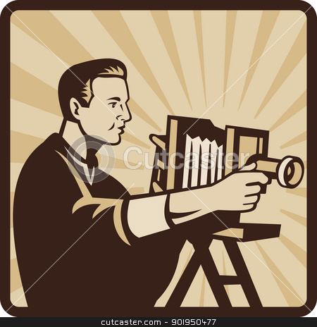 Photographer Shooting Vintage Camera Retro stock vector clipart, Illustration of a photographer shooting a vintage bellow camera viewed from side done in retro style set inside square. by patrimonio