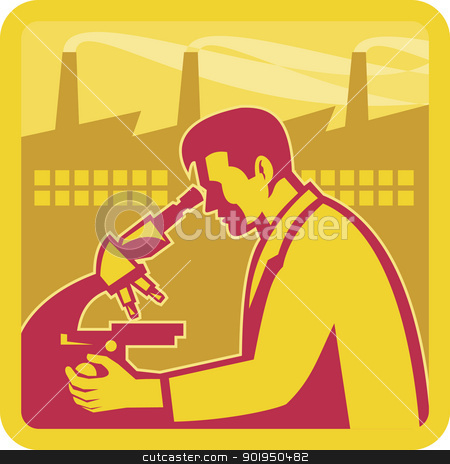 Scientist Researcher Factory Building Retro stock vector clipart, Illustration of a scientist worker chemist researcher with factory building in background set inside square done in retro style. by patrimonio