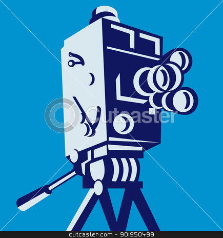 Vintage Film Movie Camera Retro stock vector clipart, Illustration of a vintage film movie video camera viewed from low angle set inside square done in retro style. by patrimonio