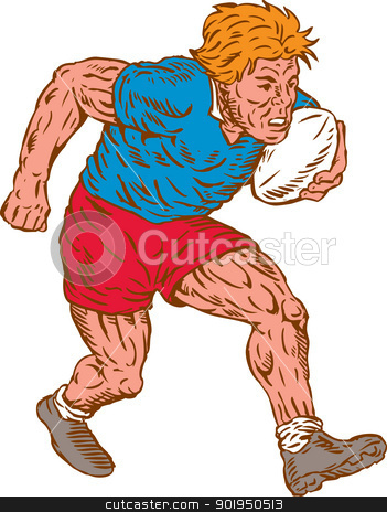 Rugby Player Running With Ball Woodcut stock vector clipart, Illustration of a rugby player running with ball on isolated white background done in woodcut style. by patrimonio