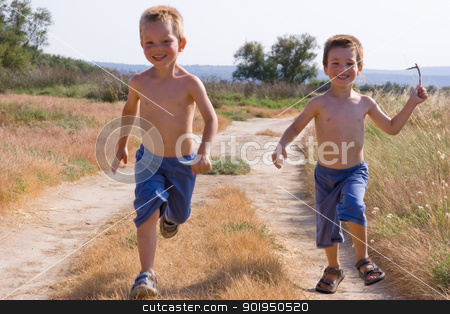 running children stock photo, Two young children running together by Christophe Rolland