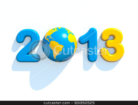 New year 2013 stock photo, New year 2013 3d shape on white background with glossy globe by Christophe Rolland