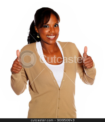 Charming young woman lifting the fingers up stock photo, Charming young woman lifting the finger up while looking at you against white background by pablocalvog