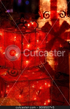 Christmas lights stock photo, Christmas decorations. Boxes of empty presents with lights. by olley997