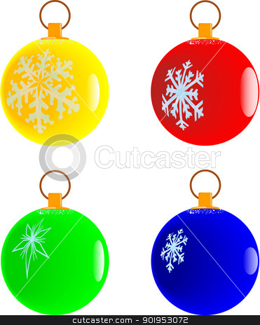 Christmas Ball Collection stock vector clipart, A collection of 4 differently coloured christmas decorative balls. by Kotto