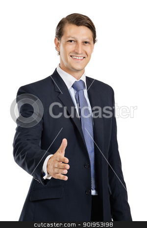 Friendly businessman handshake stock photo, Photo of an attractive businessman in his late twenties extending his hand out.  by © Ron Sumners
