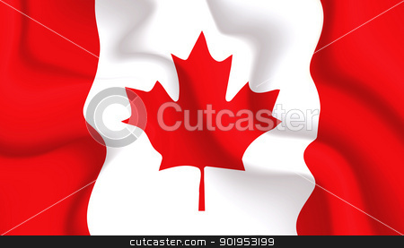 Canada waving flag stock vector clipart, Satin Canada waving flag, eps10 vector illustration by Milsi Art