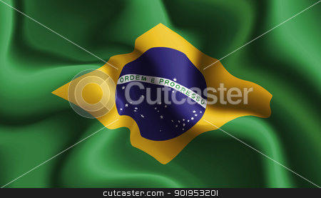 Brazil waving flag stock vector clipart, Satin Brazil waving flag, eps10 vector illustration by Milsi Art
