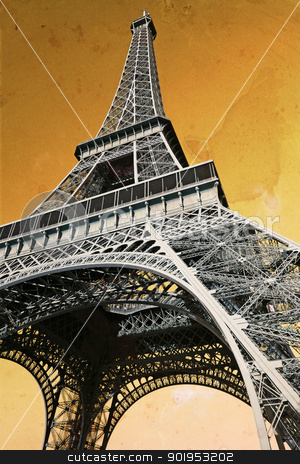 Vintage Eiffel Tower stock photo, The Eiffel Tower in Paris France, done with vintage feel with old paper background. by © Ron Sumners