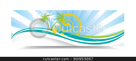 Summer banner stock vector clipart, Summer banner with palms, eps10 vector illustration by Milsi Art