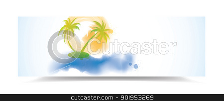 Watercolor summer banner stock vector clipart, Watercolor summer banner with palm trees, eps10 vector illustration by Milsi Art