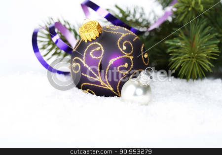 Christmas composition stock photo, Christmas ball decoration with snow, Christmas decorations  and branch of Christmas tree by klenova