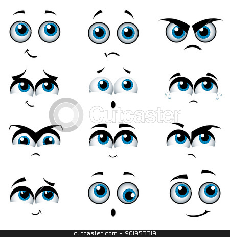 Cartoon faces with various expressions stock vector clipart, Cartoon faces with various expressions, vector illustration by Milsi Art