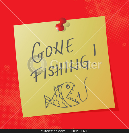 gone fishing stock vector clipart, gone fishing handwritten message, eps10 vector illustration by Milsi Art
