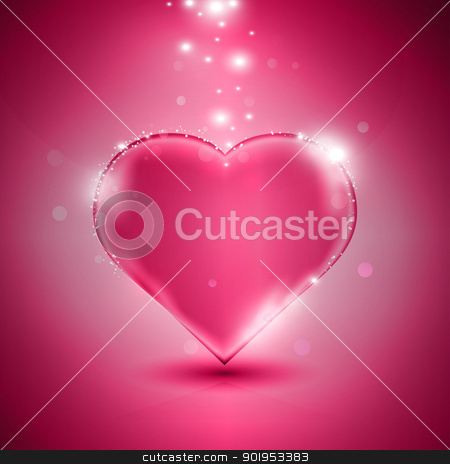 Pink heart stock vector clipart, Valentines day card with glossy pink heart, eps10 vector illustration by Milsi Art