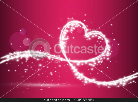 Heart formed with shiny lights stock vector clipart, Flow of light forming heart, eps10 vector illustration by Milsi Art