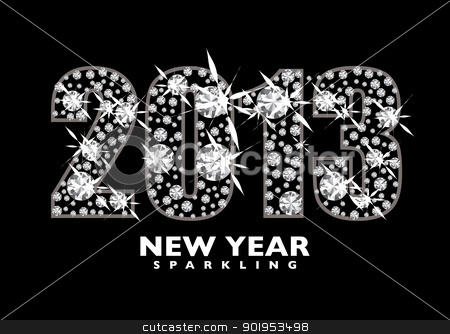 Diamond 2013 stock vector clipart, Diamond icon for the New year 2013 with black background by Michael Travers