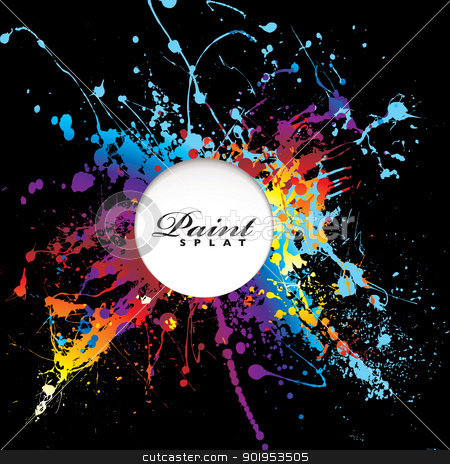 Paint splat space stock vector clipart, Bright rainbow paint splat with black background and white copy space by Michael Travers
