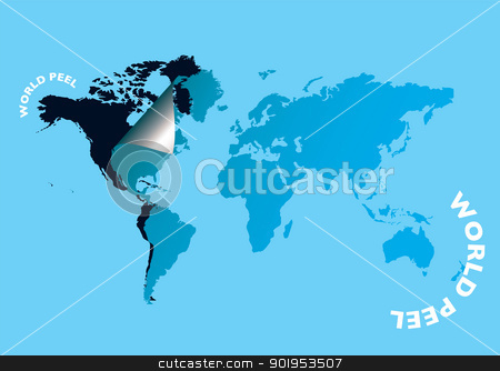 World peel stock vector clipart, World map peeled at the edge with black base by Michael Travers