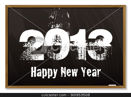 Blackboard 2013 stock vector clipart, Old fashioned blackboard or notice board with happy new year 2013 by Michael Travers