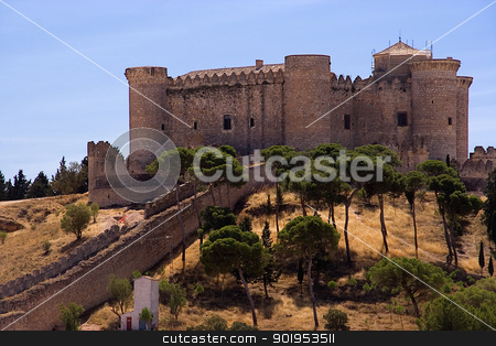 Belmonte Castle stock photo, located in the province of cuenca (spain). Was used by the french as a jail by Camilo