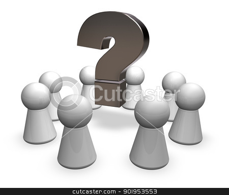 brainstorming stock photo, circle of play figures and question mark - 3d illustration by J?