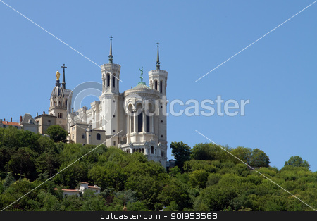 Lyon Cathedral in the big blue sky stock photo, Fourviere basilica seen from bellecour square in Lyon by Christophe Rolland