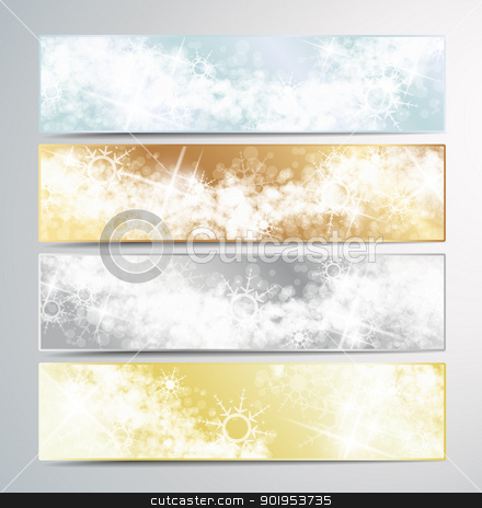 Christmas banners stock vector clipart, Set of vector Christmas banner  by Miroslava Hlavacova
