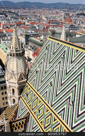 Panorama of Vienna, aerial view from Stephansdom cathedral, Vien stock photo, Panorama of Vienna, aerial view from Stephansdom cathedral, Vienna, Austria  by vladacanon1