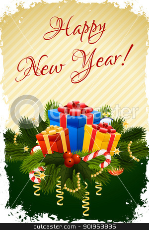 Happy New Year Greeting Card stock vector clipart, Grungy Happy New Year Greeting Card with Presents by Vadym Nechyporenko