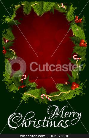 Merry Christmas Greeting Card stock vector clipart, Merry Christmas Greeting Card with Christmas Decorations by Vadym Nechyporenko