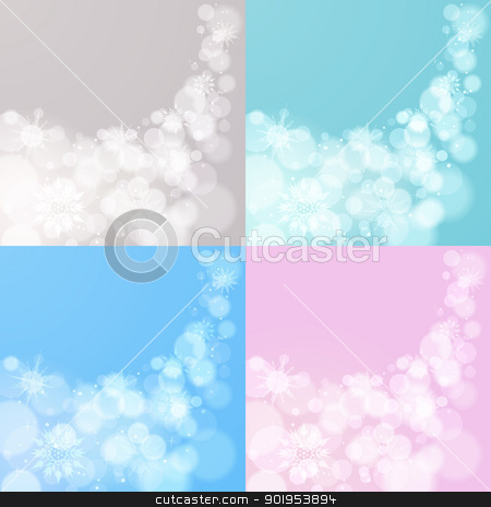Four abstract Christmas backgrounds stock vector clipart, Abstract Christmas EPS10 vector background with snowflakes in 4 variants by Allaya