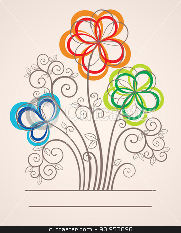 Colorful background with abstract flowers stock vector clipart, Colorful vector card background illustration with abstract flowers by Allaya