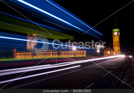 blue and white traffic lights on the westminster bridge stock photo, big ben and house of parliament seen through the traffic lights by faabi