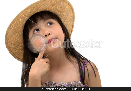 Beautiful asian girl thinking stock photo, Beautiful asian girl thinking by blueperfume