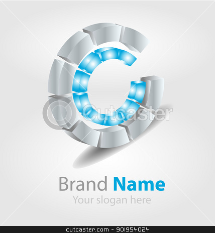 Brand logo blue stock vector clipart, Originally designed vector brand logo by Vladimir Repka