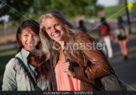 Happy Students Outdoors stock photo, Filipino and European teenage girlfriends on campus by Scott Griessel