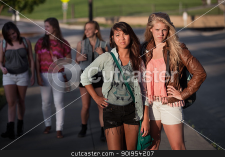 Tought Female Students stock photo, Pair of tough young female students standing outside by Scott Griessel