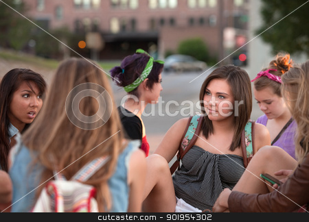 Female Students Talking Outside stock photo, Mixed group of female teenage students in conversation by Scott Griessel