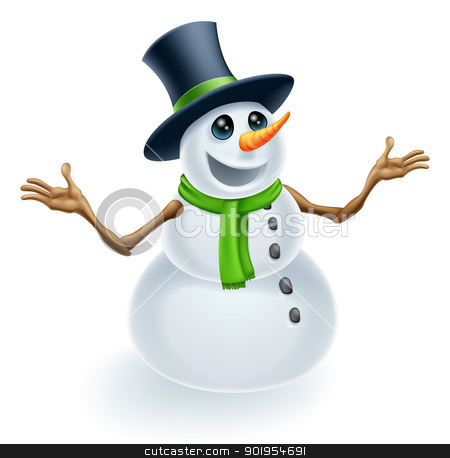 Fun Christmas Snowman stock vector clipart, Fun cute Christmas Snowman smiling and wearing a top hat  by Christos Georghiou