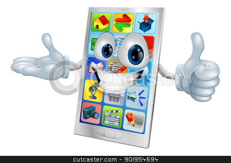 Cute happy mobile phone person stock vector clipart, Illustration of a cute happy mobile phone person  by Christos Georghiou