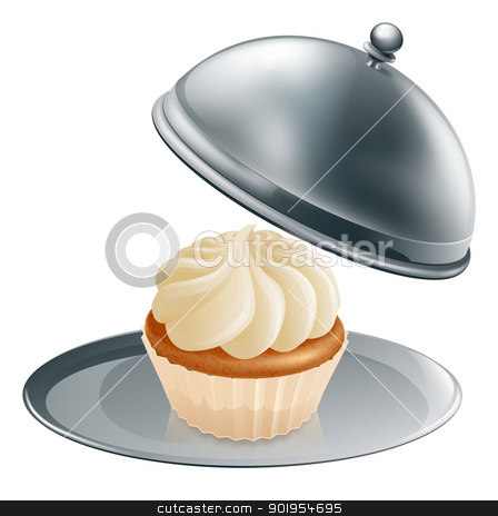 Luxury cupcake stock vector clipart, A cupcake or muffin on a silver platter, concept could be for gourmet baking or a special treat during a diet. by Christos Georghiou