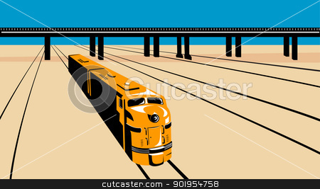 Diesel Train High Angle Retro stock vector clipart, Illustration of a diesel train viewed from a high angle done in retro style with train tracks and viaduct bridge. by patrimonio