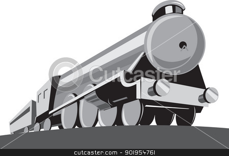 Steam Train Locomotive Retro stock vector clipart, Illustration of a steam train locomotive viewed from a low angle done in retro style on isolated white background. by patrimonio