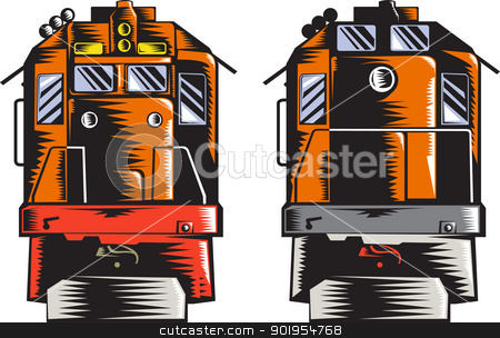 Diesel Train Front Rear Woodcut Retro stock vector clipart, Illustration of a diesel train viewed from front and rear done in retro woodcut style on isolated white background. by patrimonio