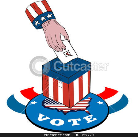 American Election Voting Ballot Box Retro stock vector clipart, Illustration of of a hand putting ballot votign in box with american stars and stripes flag and map and word vote. by patrimonio