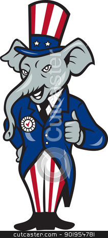 Republican Elephant Mascot Thumbs Up USA Flag stock vector clipart, Illustration of a republican elephant mascot of the republican party wearing hat and suit thumbs done in cartoon style. by patrimonio