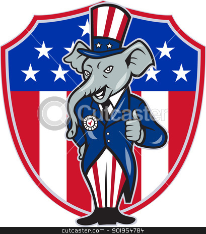 Republican Elephant Mascot Thumbs Up USA Flag stock vector clipart, Illustration of a republican elephant mascot of the republican grand old party gop wearing hat and suit thumbs up set inside American stars and stripes flag shield done in cartoon style. by patrimonio
