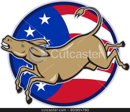Democrat Donkey Mascot American Flag stock vector clipart, Illustration of a democrat donkey mascot of the democratic party jumping set inside american stars and stripes circle done in cartoon style. by patrimonio